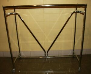 Used Commercial Grade Heavy duty V brace Double Bar Rack With Casters