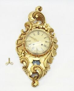 Antique Swedish Gilt Wood Carved Wall Hanging Clock