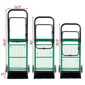 Convertible Hand Truck Adjustable Platform Height 2 in 1 Folding Heavy Duty