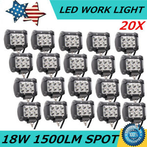 20x 4 Inch 18w Led Spot Beam Cube Cree Fog Work Lights Pods Off Road Suv Atv 4wd