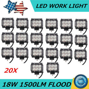 20x 4inch 18w Led Work Light Bar Flood Beam Offroad Driving Atv Boat 4wd Lights