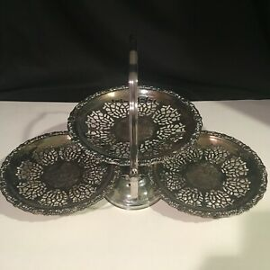 Vintage English Silverplate Filigree Pierced Three Tiered Fold Up Serving Tray