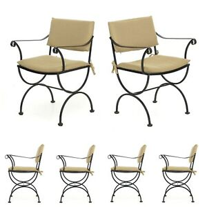 Vintage Patio Chairs Black Iron Set Of Six Salterini Style Dining Chairs