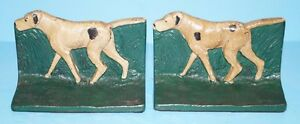 Antique Pointer Setter Hunting Dog Cast Iron Bookends Circa 1920 S
