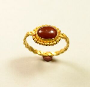 Stunning Post Medieval Gold Ring With Red Stone On Bezel Wearable Artifact