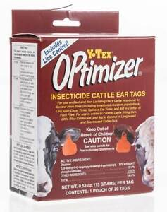 Optimizer Insecticide Cattle Ear Tag 20 pk