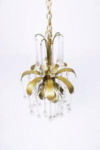 Vintage Brass Leaf Murano Glass Tear Drop Pendant Light From Palwa Germany 1970s