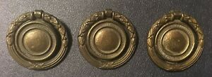 3 Vintage Antique Brass Round Drop Ring Drawer Pulls Keeler