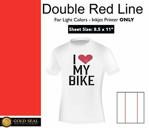 Double Red Line Light Iron On Heat Transfer Paper For Inkjet 8 5 X 11 25 Sheets