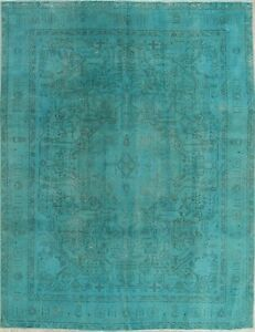 Persian Wool Rug Floral Hand Knotted Distressed Oriental Modern Area Rug 9 X 12