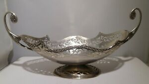 Bread Tray Handmade Lattice Work Stamp 800 H S Crown On Top Silver Antique