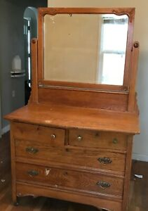 Antique White Oak Dresser With Attached Mirror 2 Lg Drawers 2 Small Drawers