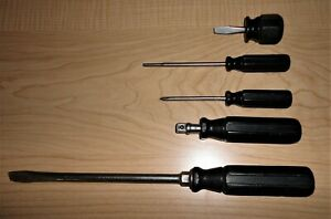 Vintage Snap On Octo Grip Black Handle Screwdrivers Sd8 F 40 Sdp31 Sdc 5