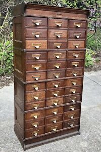 Antique Quarter Sawn Oak Yawman Erbe File Card Catalog Apothecary Cabinet 6 Ft