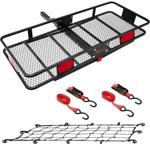 60x24 Folding Hitch Cargo Carrier Luggage Basket 550lb Capacity Fits 2 Receiver