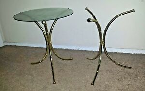 Pair Faux Bamboo Small Brass Tone End Tables Side Table Hollywood Regency Mcm