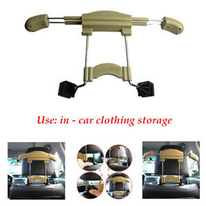 Stainless Steel Abs Beige Car Seat Headrest Coat Clothes Hanger Holder Durable