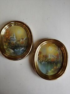 Vntg Pair Of Syroco Matching Oval Metallic Frames With Church Pictures