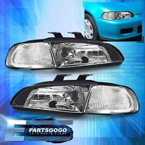 For 92 95 Civic Sedan Eg Ej 1 Pc Jdm Black Housing Clear Reflector Headlight
