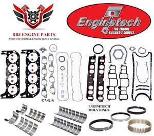Chevy Chevrolet 454 1996 2000 Enginetech Rering Rebuild Kit With Main Bearings