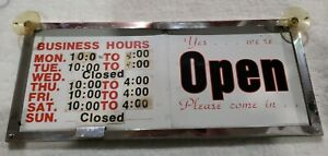 Vtg 2 Sided Aluminum Business Hours Door Window Store Sign Sliding Open Closed