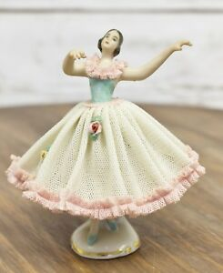 Antique Dresden Volkstedt Lace Ballerina 4 Porcelain Figurine Germany