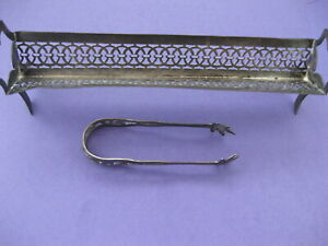 Sterling Silver Sugar Cube Holder And Tongs