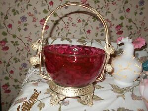 Antique Cranberry Diamond Optic Glass Brides Basket Stawberry Figurial Sides