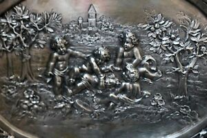 Antique Intricately Detailed Children Playing Large 800 Silver Bowl Dish Tray