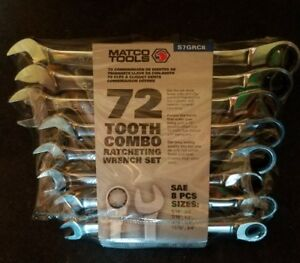 Matco Tools 8 Piece 72 Tooth Sae Combination Ratcheting Wrench Set s7grc8