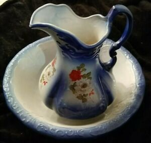 Vintage Ironstone Pitcher And Basin Set Wash Jug And Bowl Rose Blue
