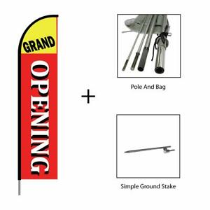 Grand Opening Feather Flag Swooper Banner Pole Kit Sign Display 15ft Red