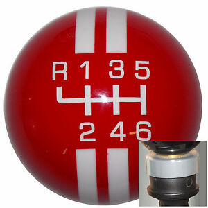 Rally Red White l 6 Speed Shift Knob W Silver Adapter Kit Fits New Dodge Dart