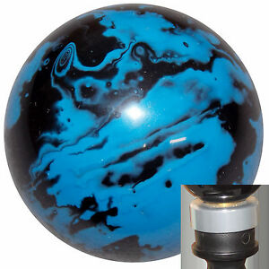 Marbled Black Blue Shift Knob With Silver Adapter Kit Fits New Dodge Dart