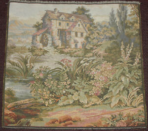 Vintage Italian Pastoral Tapestry Mill House On Hill 20 X 20