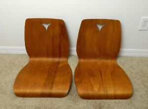 Vintage Stanley Mid Century Modern Floor Chair Seats Pair Curved Back No Leg Mcm