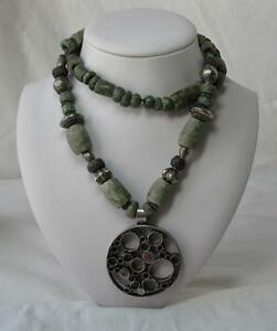 Pre Columbian Jade Necklace Ancient Mayan Maya 500 950ad Speckled Jaguar Spotted