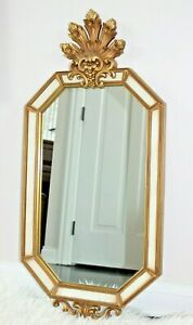 Vintage Hollywood Regency Creamy White Gold Gilt Carved Mirror French Italian