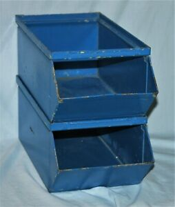 Pair Vintage Metal Stackable Storage Bin Industrial Shop Kitchen Crafts Bath Box