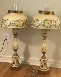 Hand Painted Vintage Tole Ware Metal Huricane Cream Gold Floral Table Lamp