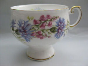 Rosina Wild Flowers Fine Bone China Teacup Gold Plated Made In England