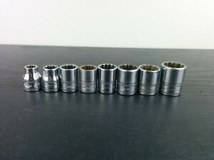 Ad629 Snap On Tools 8pc 3 8dr 6pt Metric Flank Drive Shallow Socket Set