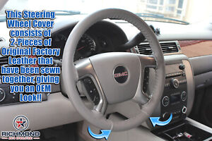 2007 2013 Chevy Avalanche Lt Z71 Ls Ltz leather Wrap Steering Wheel Cover Gray