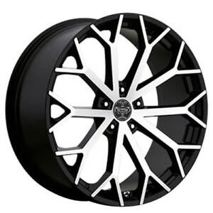 4pcs 24 Versante Wheels Ve229 Black Machined Rims Fs
