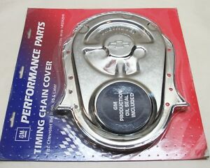 Gm Performance Chrome Steel Bbc Chevy Timing Cover 12342091 With Oil Seal