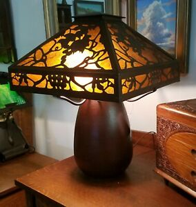 Repro 4 Lite Hammered Copper Arts Crafts Large Table Lamp Wmica Stickley Style