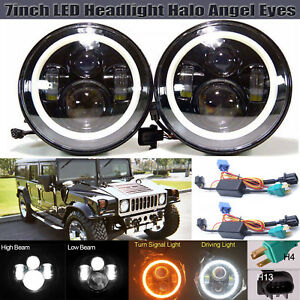 2pcs 7inch Led Drl Headlight Halo Angel Eyes High Low Beam For Hummer H1 H2