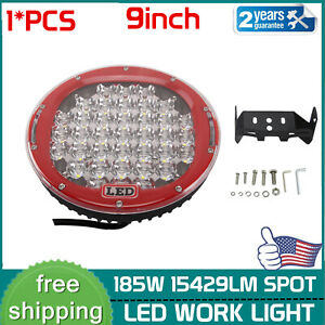 Round 9inch 185w Led Work Lights Spot Driving Headlamp Offroad For Suv Truck Red