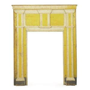 Antique Fireplace Surround Yellow Painted Federal Style Fireplace Mantle Mantel