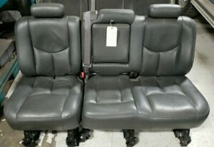 2001 02 03 04 05 06 07 Charcoal Gray Leather Crew Cab Rear Seat Chevy Gmc 2500hd